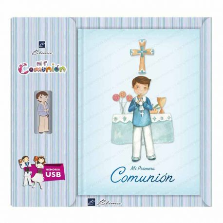 Libro de firmas Comunión con USB, niño traje en el altar. Tamaño 22 x 30 cm