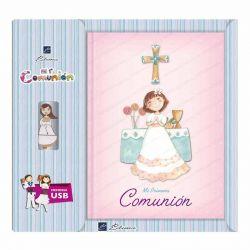 Libro de firmas Comunión con USB, niña en el altar