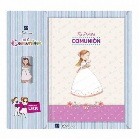 Libro de firmas Comunión con USB, niña con un Cáliz y el Pan. Tamaño 22 x 30 cm
