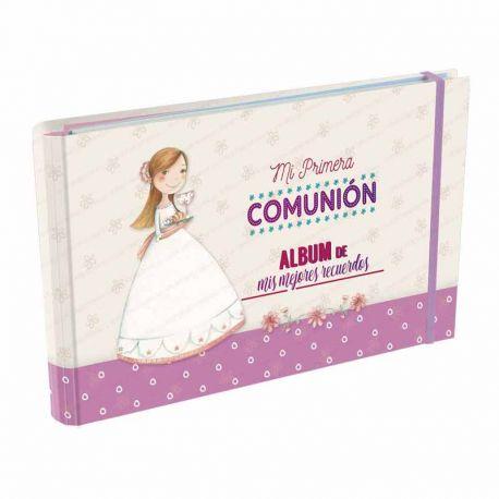 Álbum Comunión Mis Mejores Recuerdos, niña con el Pan y el Cáliz. Tamaño 23 x 15 x 2,5 cm.