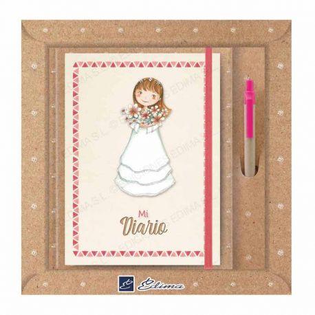Diario Primera Comunión más bolígrafo, niña con flores