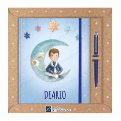 Diario Primera Comunión, niño marinero sentado en la luna