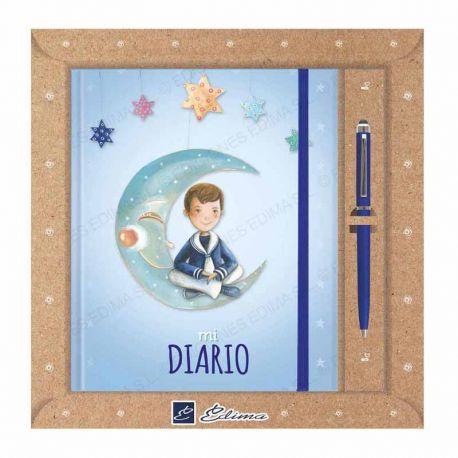 Diario Primera Comunión más bolígrafo, niño marinero sentado sobre la luna