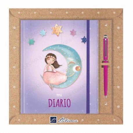Diario Primera Comunión más bolígrafo, niña sentada en la luna