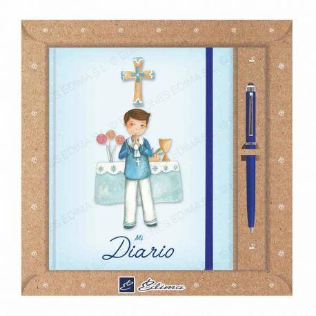 Diario Primera Comunión más bolígrafo, niño en el altar
