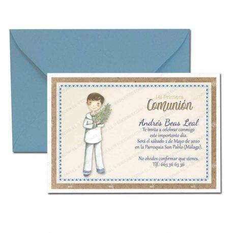 Invitación Primera Comunión, niño marinero con espiga. Pack 20 invitaciones + 20 sobres azules
