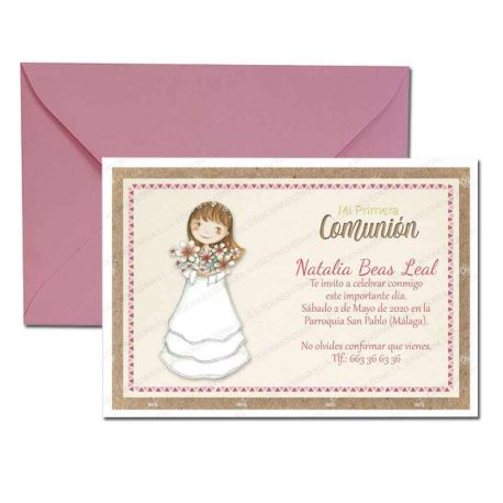 Invitación Primera Comunión, niña con ramo de flores. Pack 20 invitaciones + 20 sobres rosas