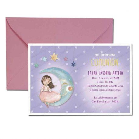 Invitación Primera Comunión, niña sentada en la luna. Pack 20 invitaciones + 20 sobres