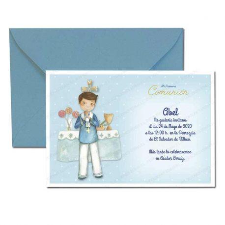 Invitación Primera Comunión, niño marinero en el altar. Pack 20 invitaciones + 20 sobres