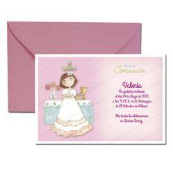 Invitación Primera Comunión, elegante niña en el altar. Pack 20 invitaciones + 20 sobres