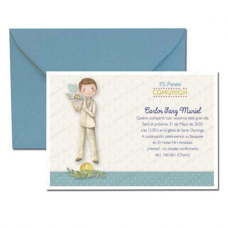 Invitación Primera Comunión, niño con bandeja. Pack 20 invitaciones + 20 sobres