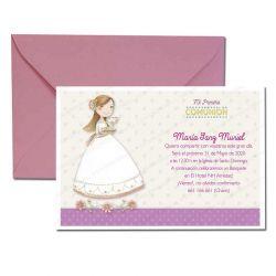Invitación Primera Comunión, sonriente niña con bandeja. Pack 20 invitaciones + 20 sobres