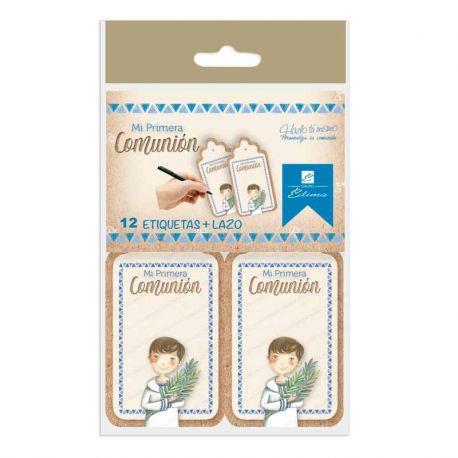 Bolsa 12 etiquetas para personalizar los detalles de comunión. Niño con rama de olivo