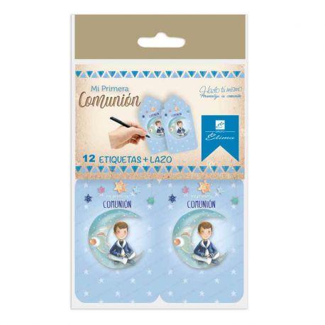 Bolsa con 12 etiquetas de Comunión para los regalos, niño sentado sobre la luna