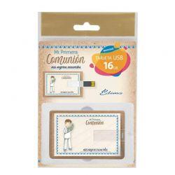 Tarjeta USB niño marinero con rama de olivo, recuerdo para Comunión