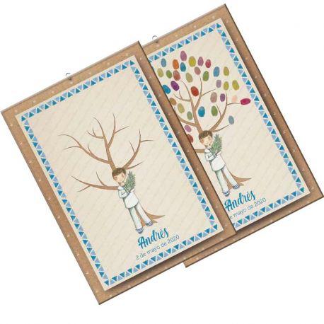 Árbol de huellas para Comunión, niño marinero con rama de olivo