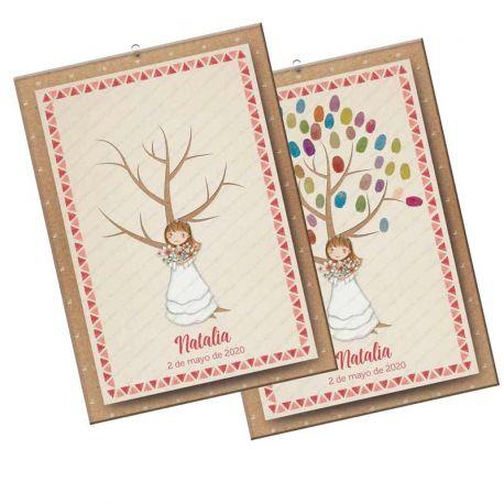Árbol de huellas para Comunión, niña con ramo de flores