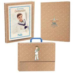 Libro de firmas para Comunión personalizado en la portada y contraportada, con maletín. Niño con rama de olivo