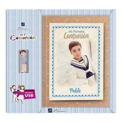 Libro de firmas para Comunión personalizado en la portada y contraportada, con USB. Modelo niño
