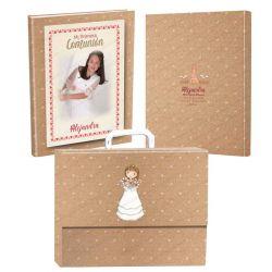 Libro de firmas para Comunión personalizado en la portada y contraportada, con maletín. Modelo niña
