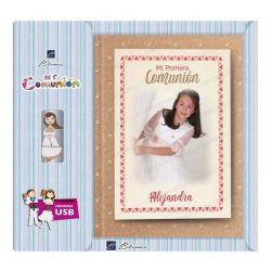 Libro de firmas para Comunión personalizado en la portada y contraportada, con USB. Modelo niña