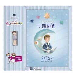 Libro de firmas Comunión personalizado con USB para niño, luna