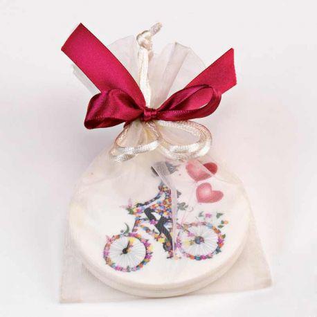Espejo doble decorado con una chica en bici, en bolsa y tarjeta personalizada