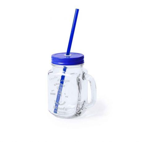 Jarra de cristal personalizada con laser, color azul. Recuerdo de comunión