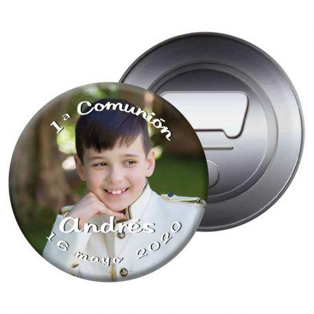 Imán abrebotellas personalizado con una fotografía, recuerdo de Primera Comunión