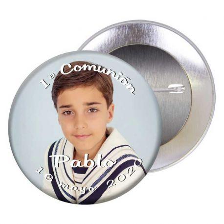 Chapa alfiler, 5,5 cm, personalizada con el nombre, la fecha de la comunión y fotografía