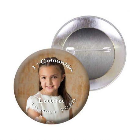 Chapa alfiler, 3,5 cm, para comunión personalizada con una fotografía