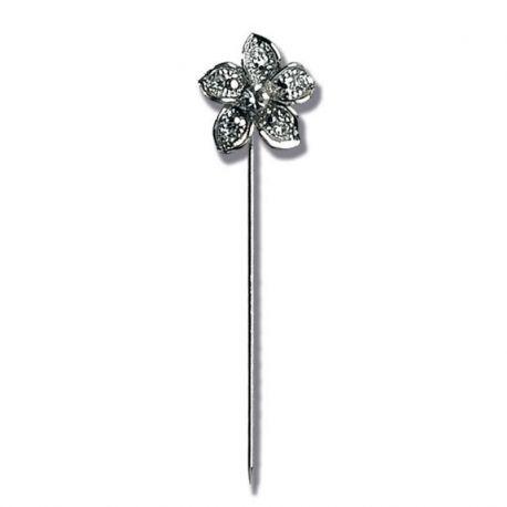 Alfiler realizado en fino metal brillante y con un bonito diseño de flor