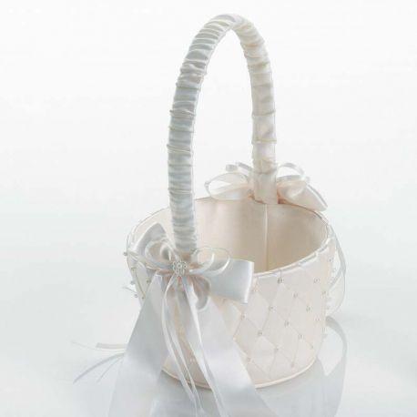 Exclusiva cesta para las arras de la boda, en color marfil y decorada con un diseño de rombos y perlitas