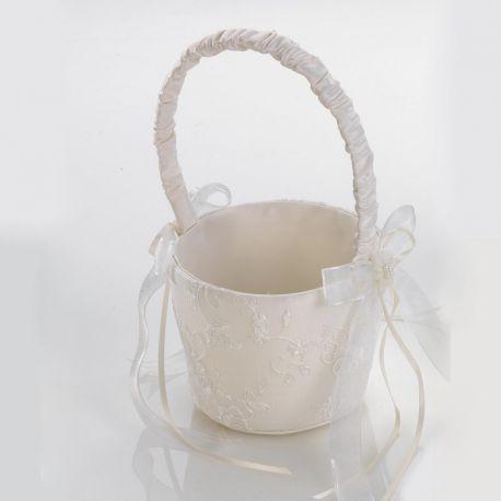 Cesta para llevar las arras en la boda, color marfil con bordado floral