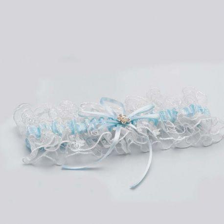 Liga para novia combinada en azul y marfil. Presentada en caja de acetato.
