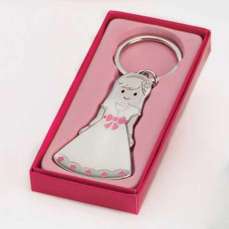 Llavero para Primera Comunión, niña con traje blanco y detalles en rosa