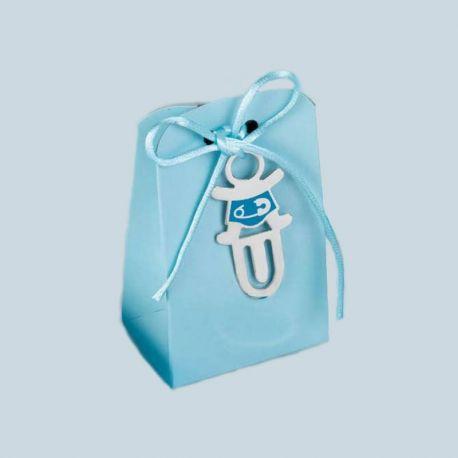 Punto de libro bebé imperdible azul con peladillas