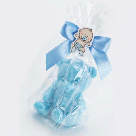 Jabón osito en bolsa celofán y lazo azul, recuerdo bautizo