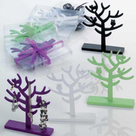 Árbol porta joyas en caja con lazo a tono y tarjeta, recuerdos de boda