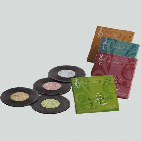 Posavasos que imitan antiguos LP's de vinilo