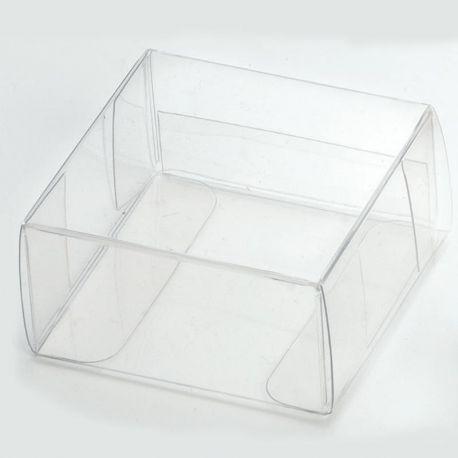Caja de acetato cuadrada de 5,3 x 5 x 2,7 cm. Transparente