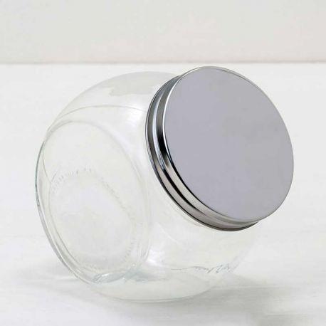 Bote redondo de cristal con tapa en metal