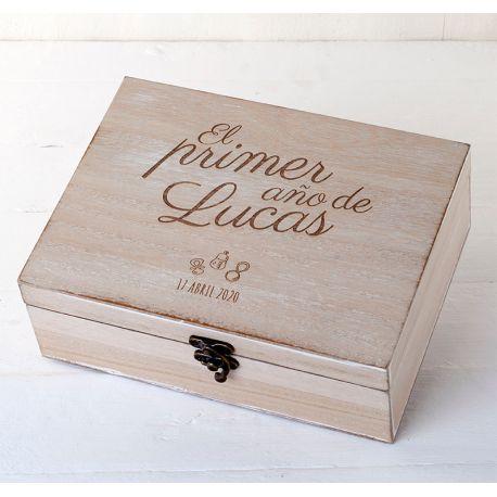 """Cofre madera personalizado """"El primer año de ..."""""""