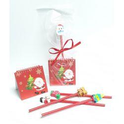Lápiz con goma navideña y libreta con plantillas para colorear