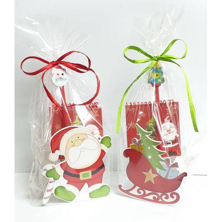 Cubilete de madera Santa y Trineo decorado