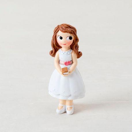 Imán resina Comunión niña con vestido corto.