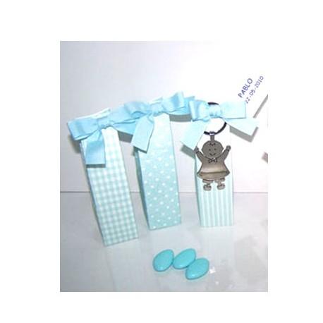 Llavero metal Pit bebé en cajita con peladillas de chocolate