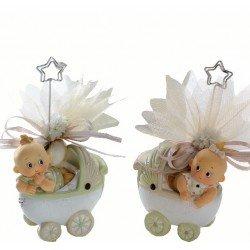 Portafotos cochecito con bebés, peladillas chocolate