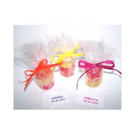 Jabones caramelo glicerina 3 unds. en celofán y tarjeta