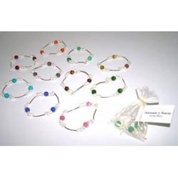 Pulsera perlas con acero y perlas colores